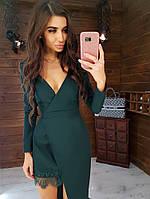 Платье с ассиметричной юбкойзеленого цвета 42,44,46 р.