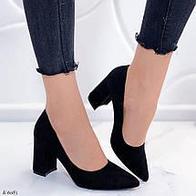 Туфли женские на каблуке черные замша, фото 2