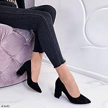 Туфли женские на каблуке черные замша, фото 3