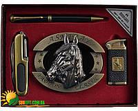 """Подарочный набор """"Конь"""" 4в1: пепельница+складной нож+ручка+зажигалка. Отличный подарок для мужчины"""