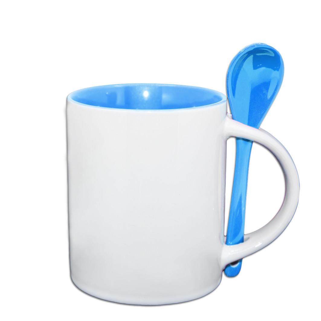 Чашка для сублимации цветная внутри с ложечкой 330 мл (голубой)