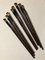 Кисть для рисования №1/6 плоская коричневая синтетика 11 мм, 21 см. Пензлик для малювання плоский синтетичний