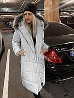 Женское зимнее пальто-пуховик с мехом