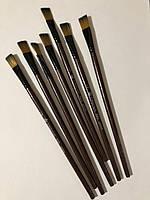 Кисть для рисования №1/8 плоская коричневая синтетика 13 мм, 21 см. Пензлик для малювання плоский синтетичний
