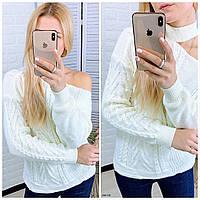 Вязаный свитер с открытым плечом 0101 СВ, фото 1