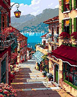 Картина по номерам на холсте с подрамником Поселок Белладжио