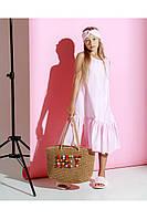 Платье детское летнее с заниженной талией розовое