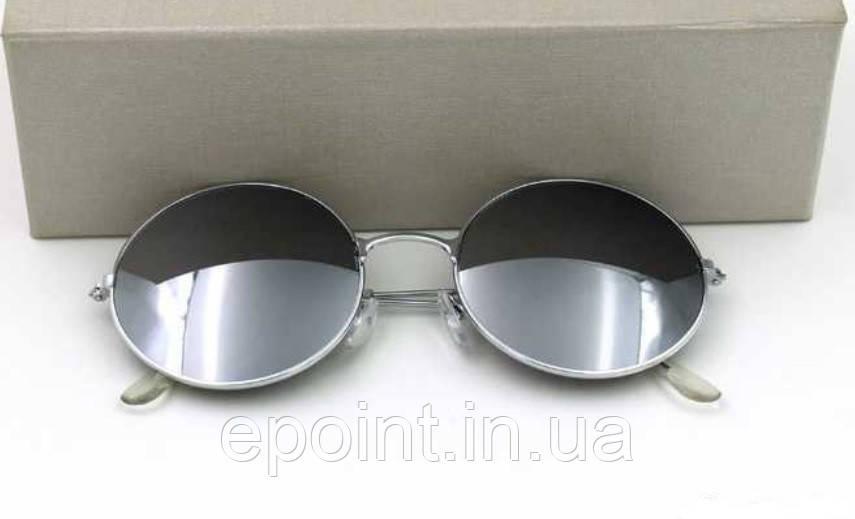 54ce60e5f538 Солнцезащитные круглые очки (уценка) металлическая оправа серебристого  цвета, зеркальные линзы - Интернет-