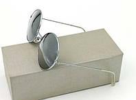 Сонцезахисні круглі окуляри металева оправа сріблястого кольору, дзеркальні лінзи