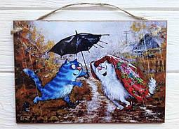 Панно декоративное. Коты под дождем