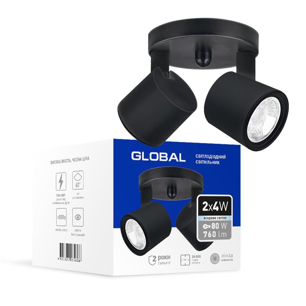 Спотовый светодиодный светильник (бра) GLOBAL 2-GSL-20841-CB 2x4W 4100K Черный
