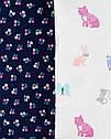 """Бодики на длинный рукав """"Животные""""  Carter's для девочки, боди картерс 6 мес/61-67 см, фото 2"""