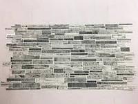 Панель ПВХ Регул Камінь Пластушка чорно-біла 955х488 мм