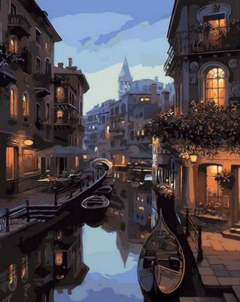 Картина по номерам на холсте с подрамником Ночные каналы Венеции