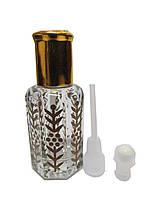 Флакон-роллер стеклянный с золотым принтом с шариком или палочкой для масляных духов 12 мл