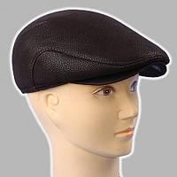 Мужская кепка коричневая из натур кожи дестрой реглан 56 57 58 59 60
