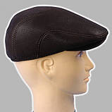 Мужская кепка коричневая из натур кожи дестрой реглан 56 57 58 59 60, фото 2