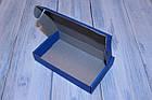 Коробка картонна 185 х 110 х 37 мм, самозбірна синя, фото 2