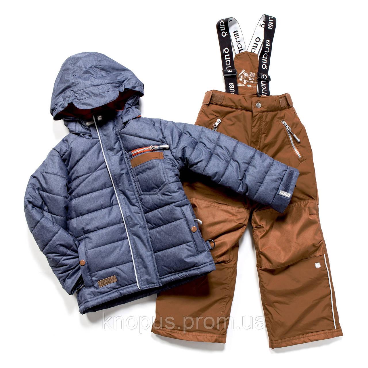 Зимний термокомплектдля мальчика  LT Blue Mix / Dk Burn Rust, NANO, размеры 98-146, на рост 90-150 см