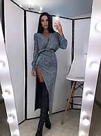 Платье с блестящим напылением с глубоким разрезом на ноге и свободным верхом на запах 2003512