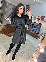 Кожаное платье - рубашка с поясом и длинным рукавом 1603529
