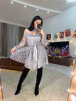 Платье с сеткой в горошек и пышной юбкой 1603532, фото 1