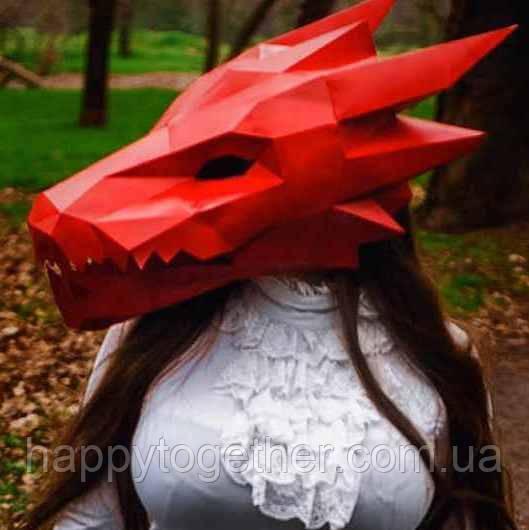 3D маска из картона Дракон