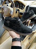 Туфли зимние мужские эко замш на меху чёрные