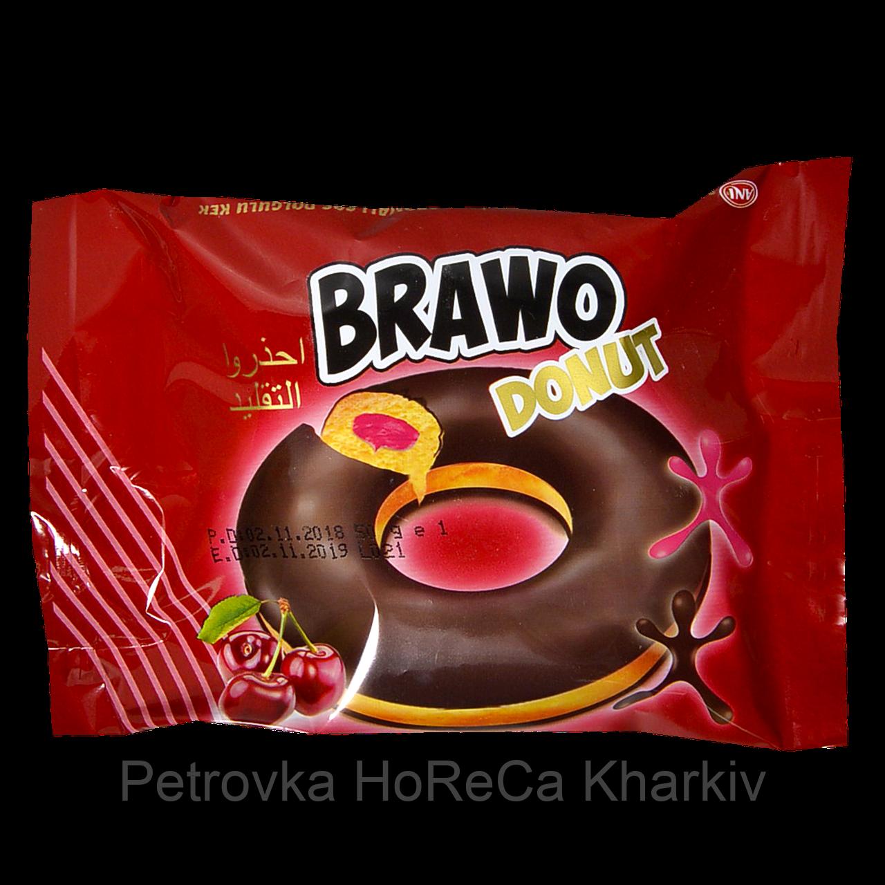 Кекс Brawo Donut с вишневой начинкой в какао-молочной глазури 50г 1уп/24шт