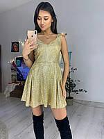 Платье из трикотажа люрекс с расклешенной юбкой и вырезом  7603554, фото 1