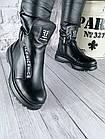 Женские зимние черные ботинки, из натуральной кожи, фото 4