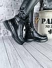 Женские зимние черные ботинки, из натуральной кожи, фото 5