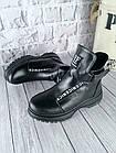 Женские зимние черные ботинки, из натуральной кожи, фото 6