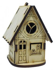Домик-шкатулка №11 из фанеры 7 х 6 х 9 см. с часами
