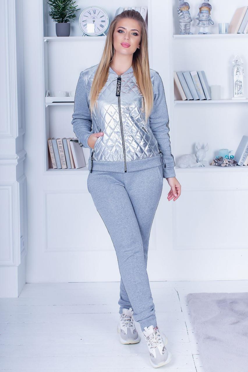 Зимовий спортивний костюм з начосом жіночий: штани і кофта з сріблястою плащевкой, батал великі розміри