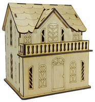 Домик-копилка №13 из фанеры 16 х 14 х 18 см. с балконом