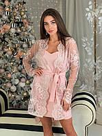Костюм женский платье и накидка кружевная с поясом мини Smbl3912