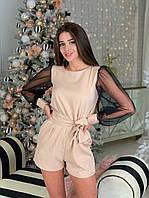 Комбинезон ромпер женский красивый со вставкой сетки люрекс и поясом Dbl2003