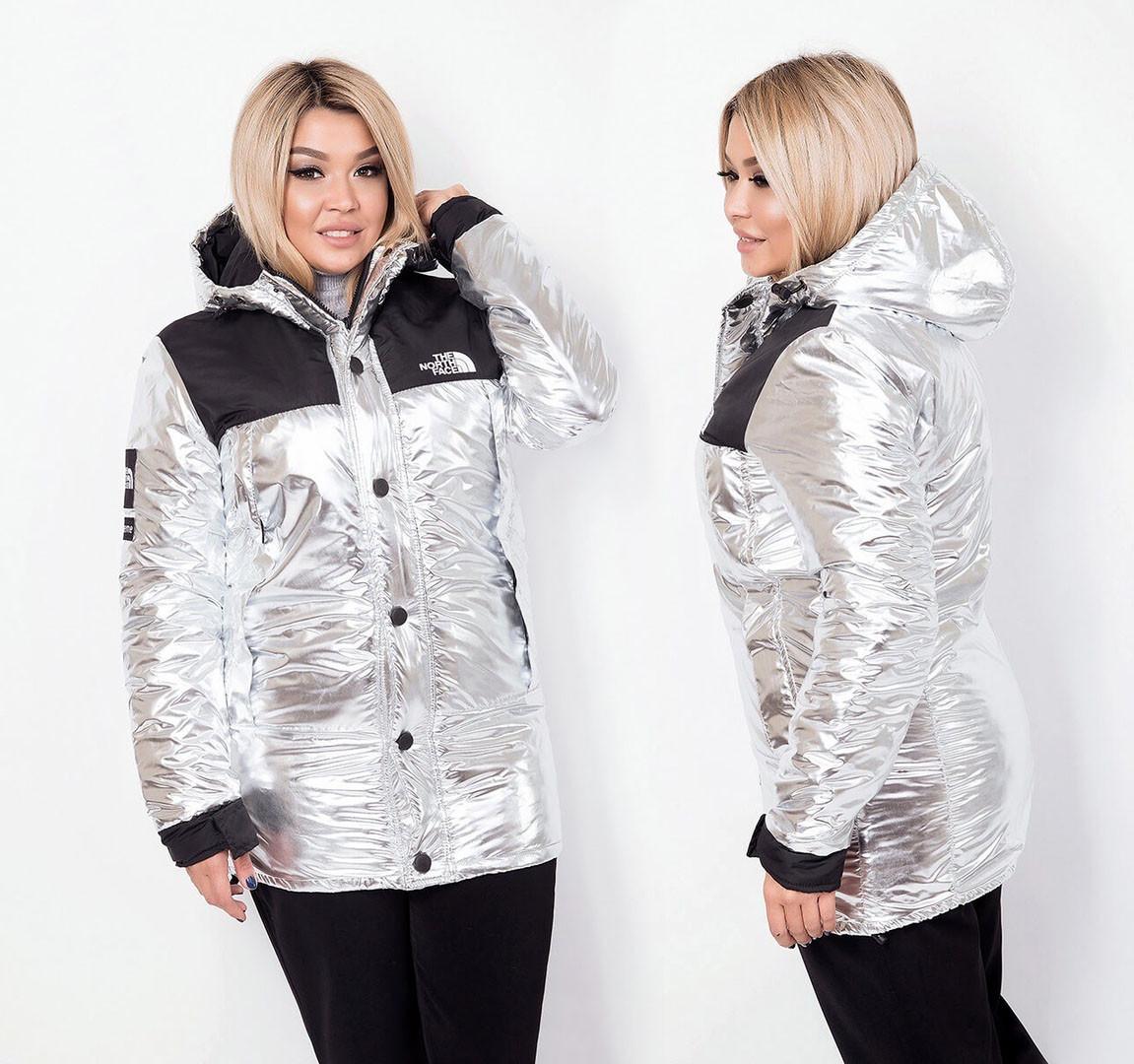 """Женская удлинённая тёплая куртка на синтепоне в больших размерах 6171 """"THE NORTH FACE"""""""