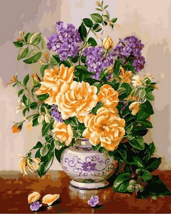 Картина по номерам 40х50см Mariposa Turbo Желтые пионы и сирень в вазе