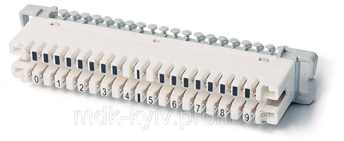 Плинт 2х10 з нормально замкнутыми контактами, тип KRONE, крепление на монтажный хомут, маркировка 0...9