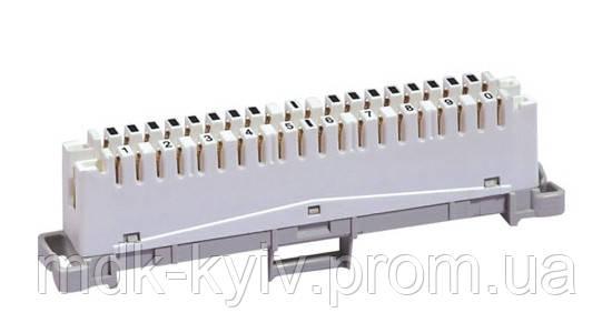 Плинт 2х10 з нормально замкнутыми контактами, тип KRONE, крепление на монтажный хомут, маркировка 1...0