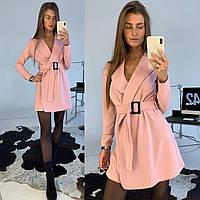 Платье комбинезон модное на запах с поясом Smld3914