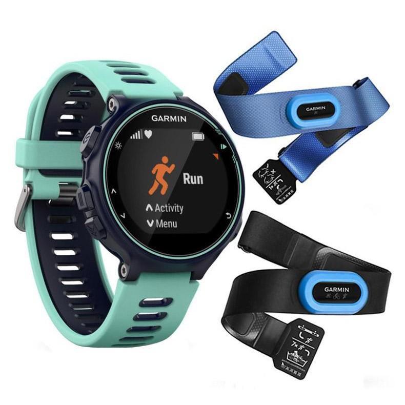 Смарт-годинник Garmin Forerunner 735XT Midnight Blue/Frost Blue Tri Bundle Бірюзовий/ Зелений