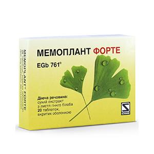 Мемоплант форте - Укрепляя стенки мозговых сосудов ,  80 мг таблетки №20