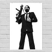 "Постер ""Мэрлин Мэнсон с автоматом"". Marilyn Manson. Размер 60x43см (A2). Глянцевая бумага, фото 2"