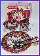 Набор стеклянной детской посуды Metr+ кукла Лол Lol фиолетовый