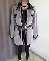 Куртка-шубка с искусственным мехом серо-синего цвета