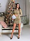 Платье блестящее из люрекса с длинным рукавом и выше колена длиной 65py498, фото 2