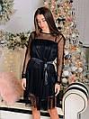 Черное платье из атласа с сеткой в горошек сверху 65py499, фото 3